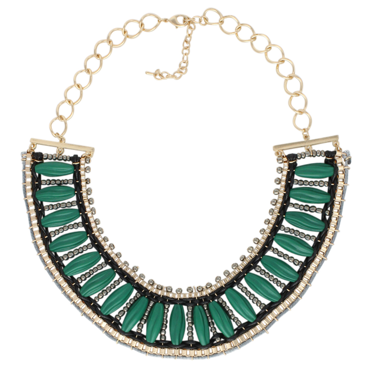 Emerald Green Beaded Bib Necklace