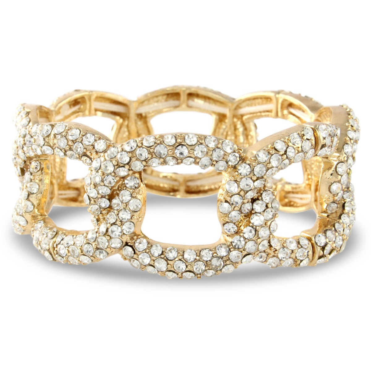 Luxe Gold Pave Links Stretch Bracelet