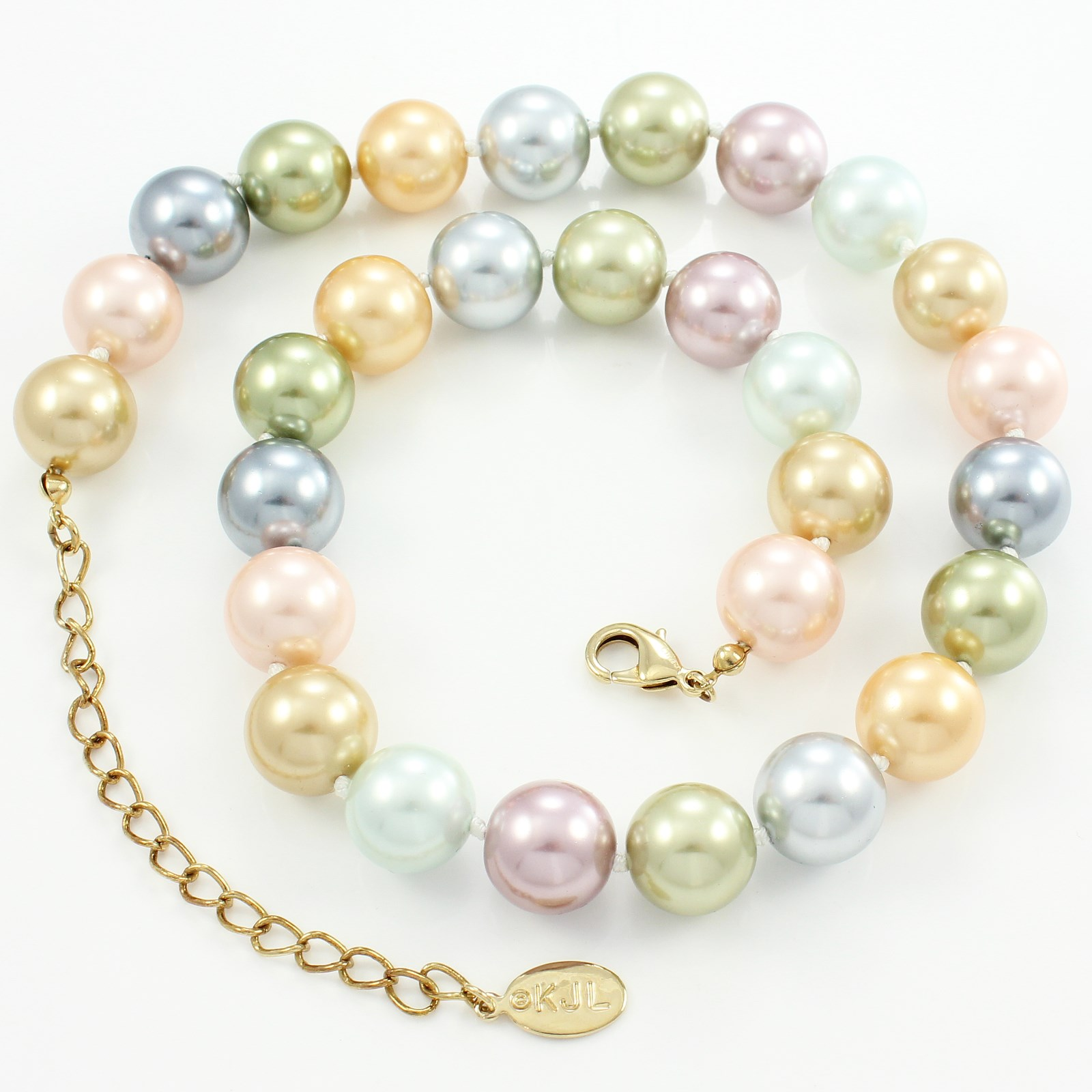Estate Kjl 2009 Inaugural Simulated Pearl Necklace Multicolor Kenneth Jay  Lane
