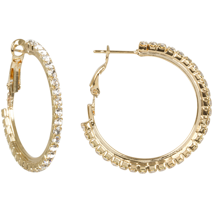 Pave Golden Hoop Earrings