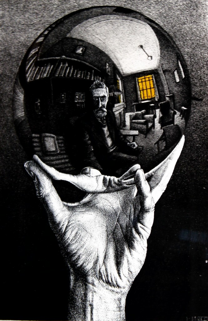 Vintage m c escher hand with reflecting sphere print for Black and white celebrity prints