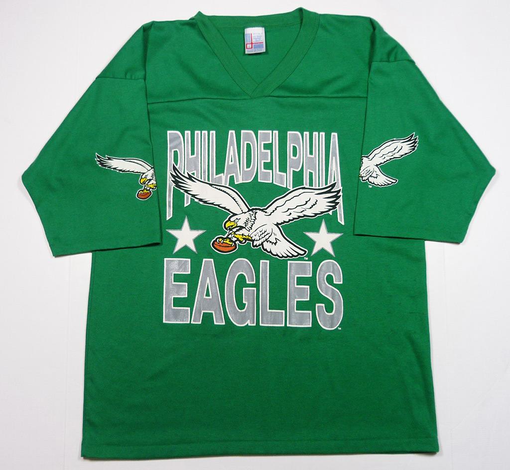 Vintage 80 39 s philadelphia eagles football logo jersey t for Eagles football t shirts