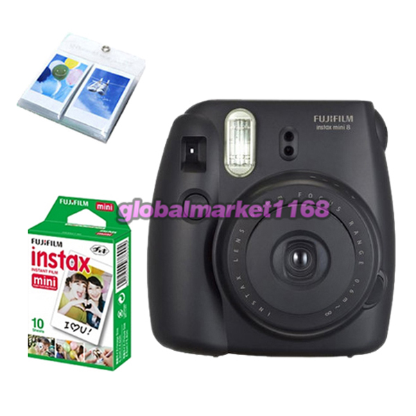 fujifilm instant instax mini 8 polaroid film camera black color film case ebay. Black Bedroom Furniture Sets. Home Design Ideas