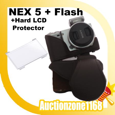 Camera Leather Case Bag Prouch for NEX-5 NEX-5C NEX-5N w Flash Slot Brown.