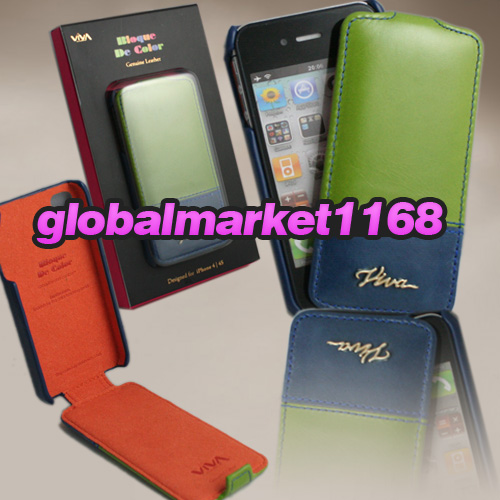 1314-Viva-Bloque-de-Color-Genuine-Real-Leather-Flip-Case-Cover-for-iPhone-4-4S