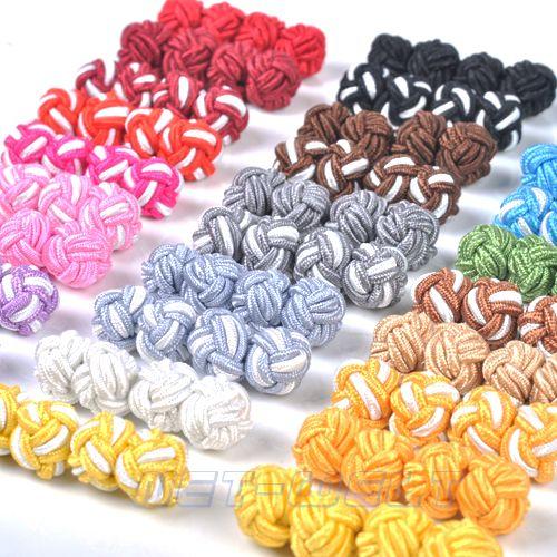 30-Paar-Manschettenknoepfe-Chinesische-Bunt-Seide