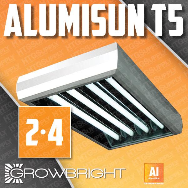 """T5 GROW LIGHT COMPLETE w T5HO BULBS 2 4 6 8 lamp 24"""" 48"""" Fluorescent Veg Bloom"""