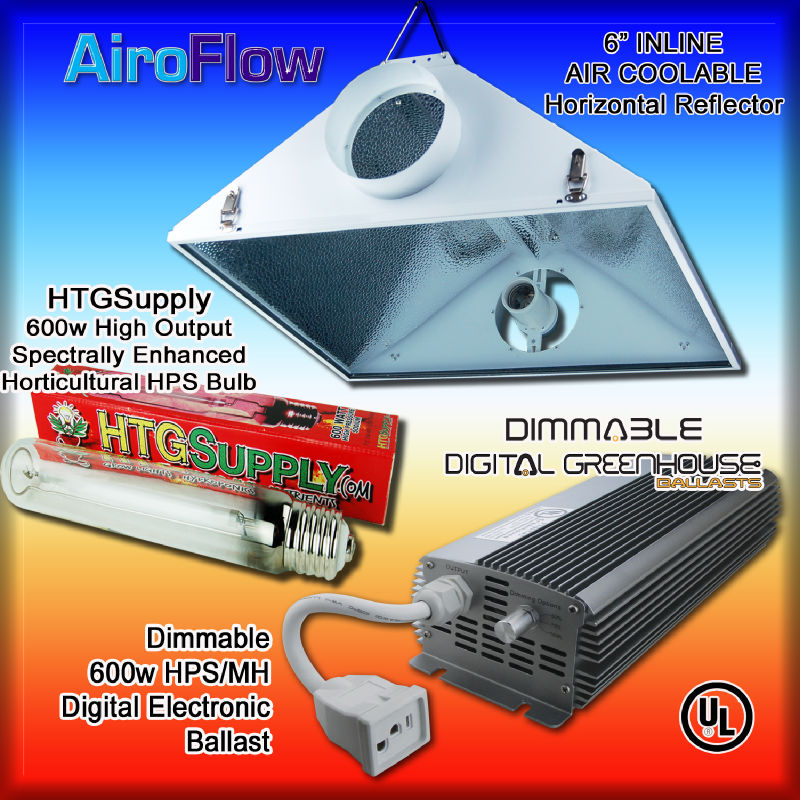 600 Watt Dimmable Digital Grow Light Kit 600W HPS w Ballast Bulbs Hood MH Sodium