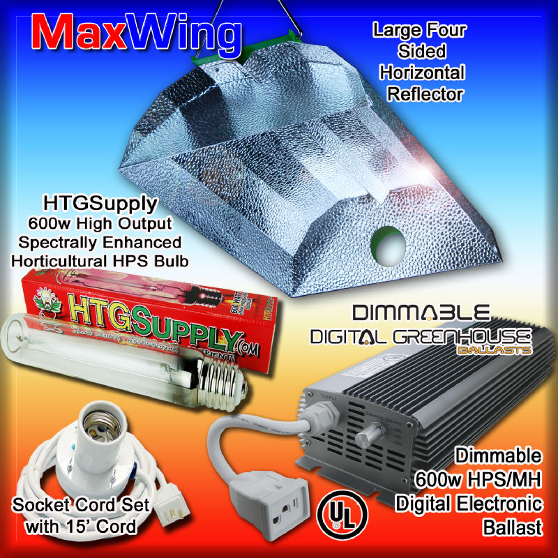 600 Watt Dimmable Digital Grow Light Kit 600W HPS w Ballast Bulbs Hood MH Sodium