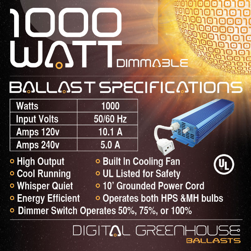 1000 Watt Dimmable Digital Grow Light Kit 1000W HPS w Ballast Bulb Hood Sodium