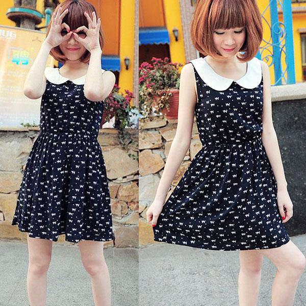 Womens-Baby-Collar-Dot-Cat-Bowknot-Vest-Mini-Dress-Sundress-Empire-Waist-Sweet