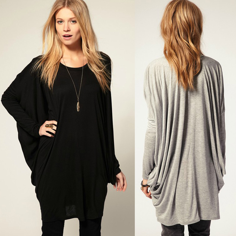 fashion womens bat sleeve oversized long t shirt tee tops blouse loose pullover ebay. Black Bedroom Furniture Sets. Home Design Ideas