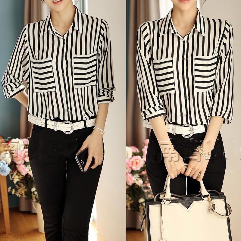 Women Long Sleeve Button Down Shirt Blouse Tops Career