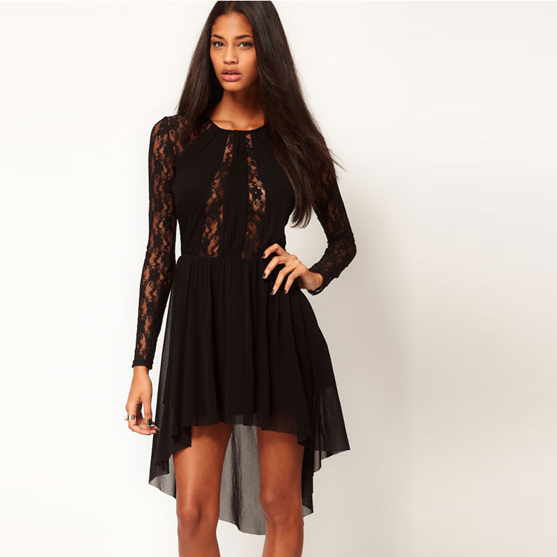 Chic Sexy Lady Splicing Lace Long Sleeve Dress Irregular Hem Club Cocktail Prom