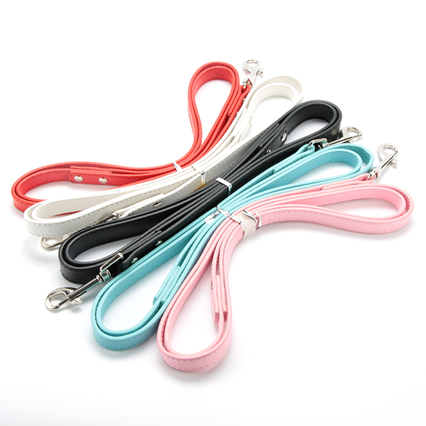 Long Smooth Dog Leashes PU Leather Lead For Small Medium Pet Dogs Candy Color