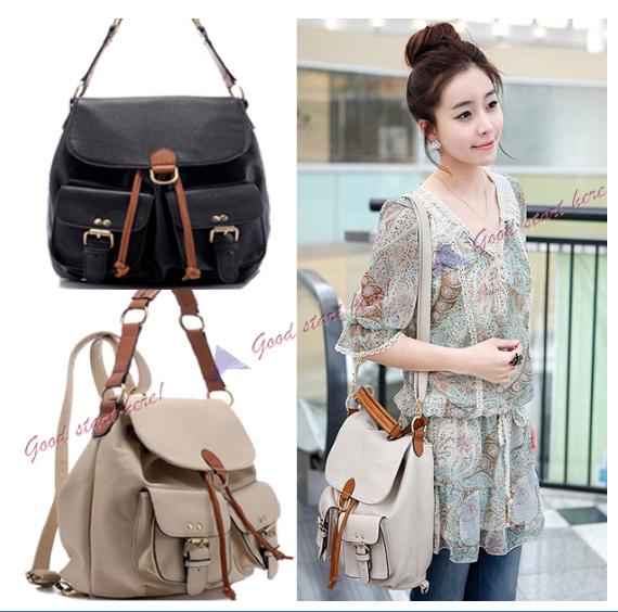 New-Backpack-Satchel-Shoulder-Bag-Fashion-Korean-Lady-Hobo-PU-leather-handbag