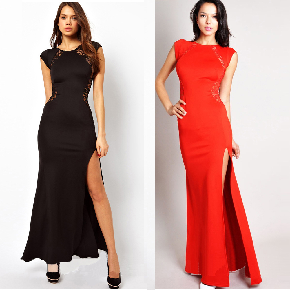 Formal Womens Sexy Fitted Side Slit Open Back Lace Party Prom Evening Long Dress
