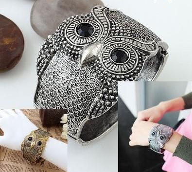 Women's Girls Antique Punk Bronze/Silver Tone Night Owl Pattern Bracelet Bangle