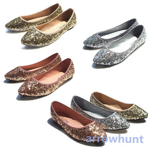 New-Women-Shining-Sequin-Casual-Soft-Pointed-Toe-Dress-Shoes-Loafer-Ballet-Flat