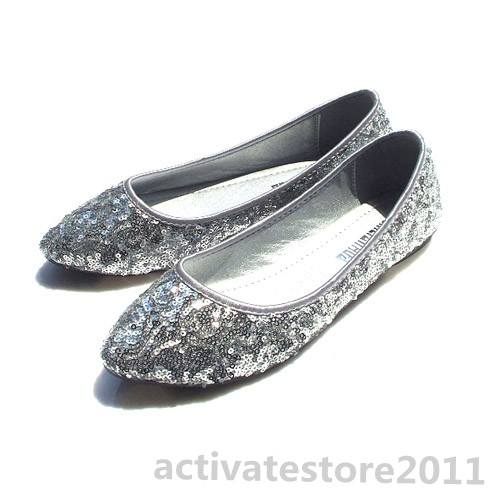 Womens-Pointed-Toe-Flat-Sequin-Glitter-Slip-On-Rubber-Sole-Ballet-Dress-Shoes