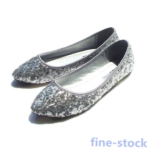 Ladies-Casual-Shoes-Pointed-Toe-Flat-Slippers-Sequin-Glitter-Heel-Slip-On-Ballet