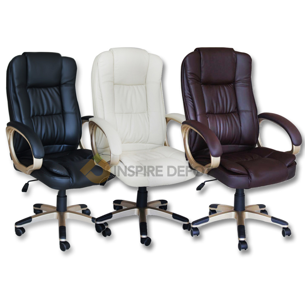 leather office executive chair computer desk black cream brown ebay