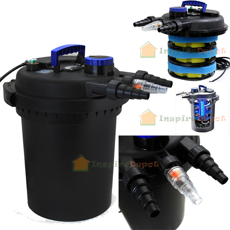 4000gal pond pressure bio filter w 13w uv sterilizer light for Fish pond filter uv light