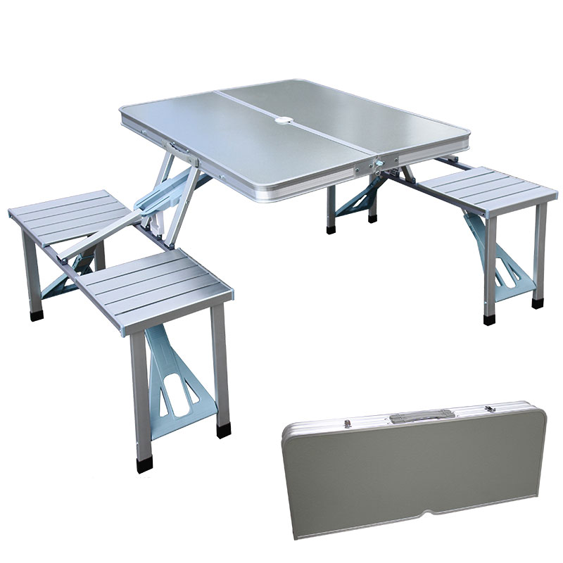 Outdoor Portable folding Aluminum Picnic Table with four seats handy carry Case.