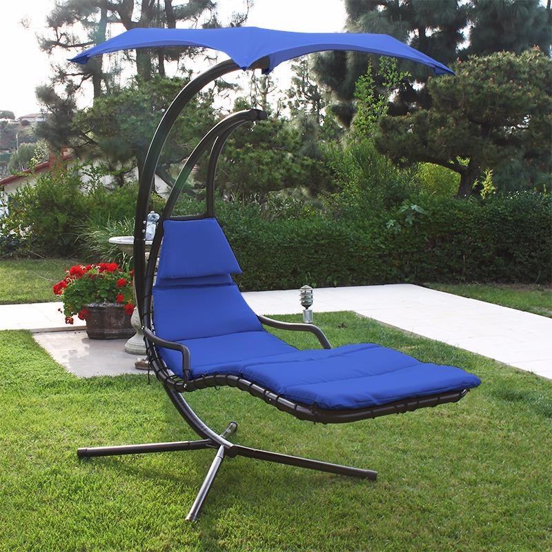 Backyard Hammock Swing : Hanging Chaise Lounger Chair Porch Deck Patio Swing Hammock Canopy
