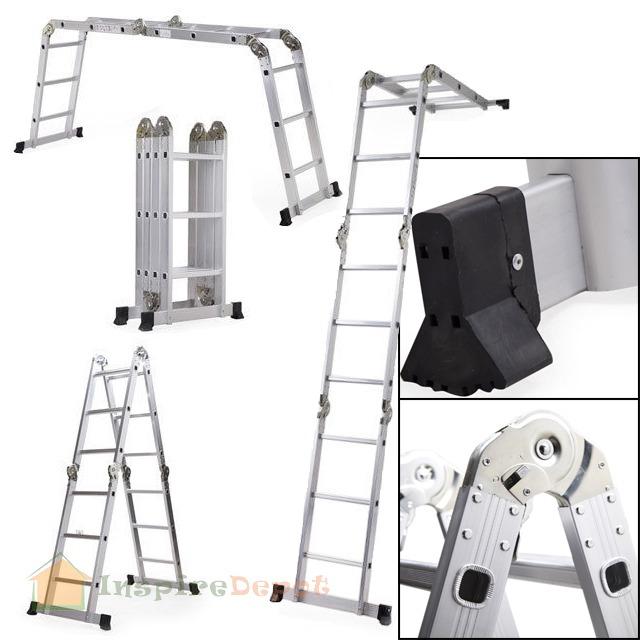 Folding Extension Ladder : New ft en multi purpose aluminum folding step
