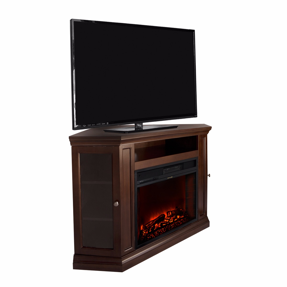 Corner TV Stand Espresso W Fireplace Entertainment Multi