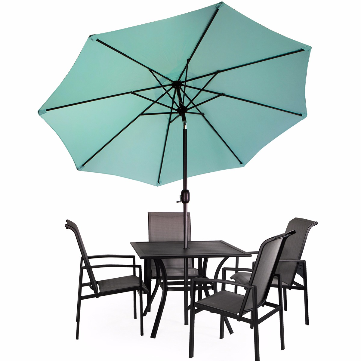 9Ft Patio Garden Sunshade Canopy Outdoor Garden Beach Umbrella Tilt And  Crank