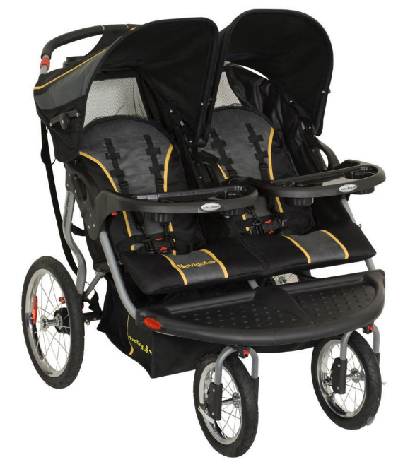 baby trend navigator twins double side by side baby jogger jogging stroller ebay. Black Bedroom Furniture Sets. Home Design Ideas