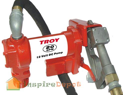 TROY 20 GPM HD 12V Fuel Transfer Pump w/ Hose Diesel Gas Gasoline