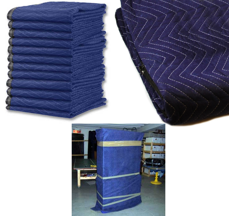Lot 8 heavy duty moving blankets padded furniture moving for Furniture moving pads