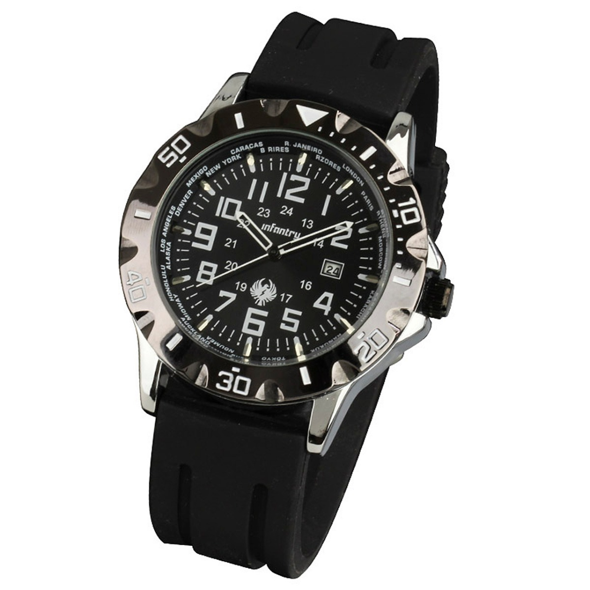 INFANTRY DATE ARMY 19-24CM SILICON RUBBER SPORTS QUARTZ MENS WRIST WATCH BLACK