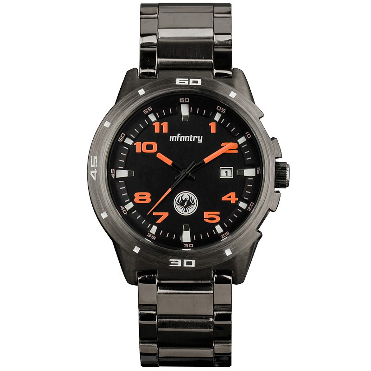 New-INFANTRY-Gunmetal-Black-Mens-Army-Black-Stainless-Steel-Wrist-Watch-Quartz
