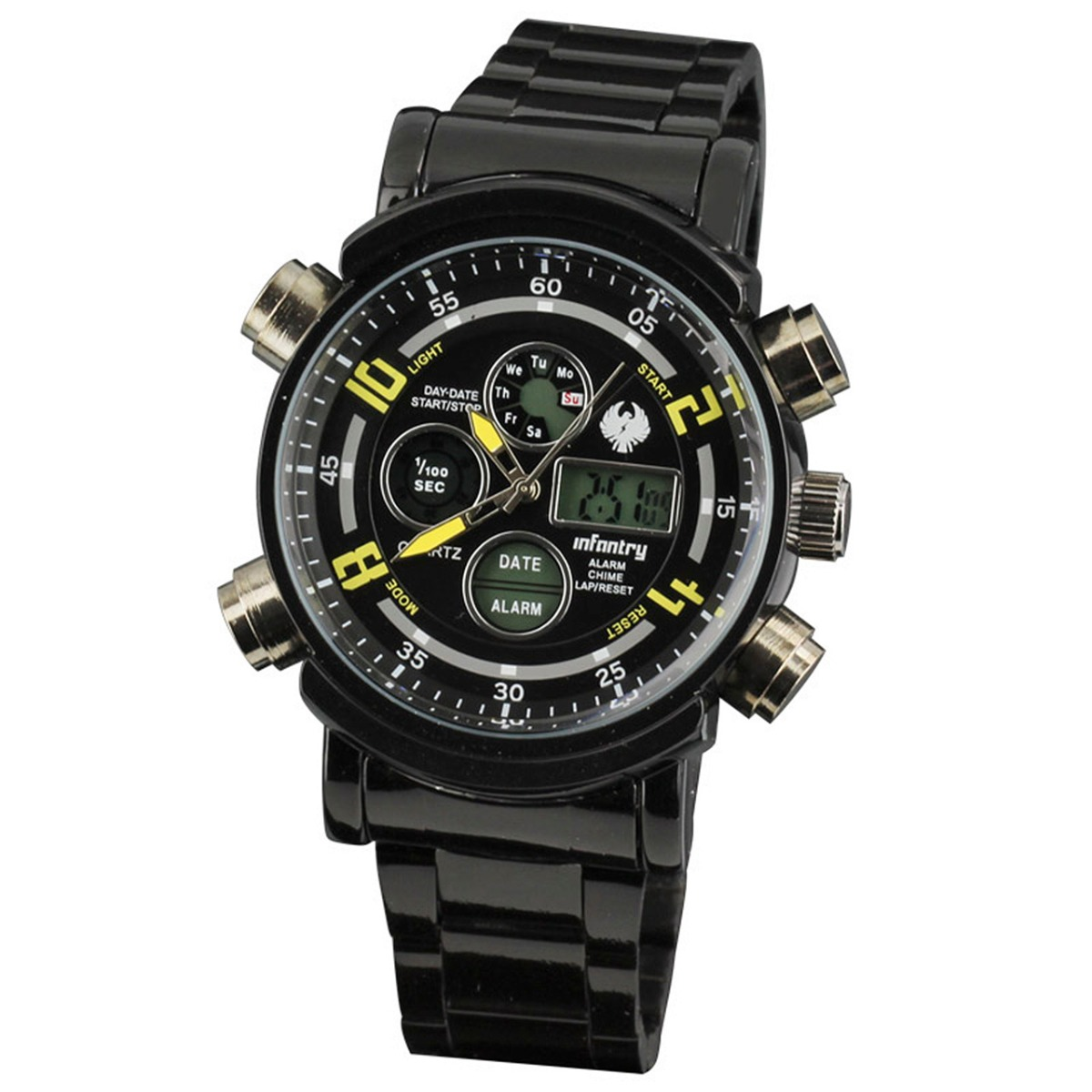 INFANTRY Digital Quartz Mens Wrist Watch Black Steel Sport Chrono Alarm Date Day