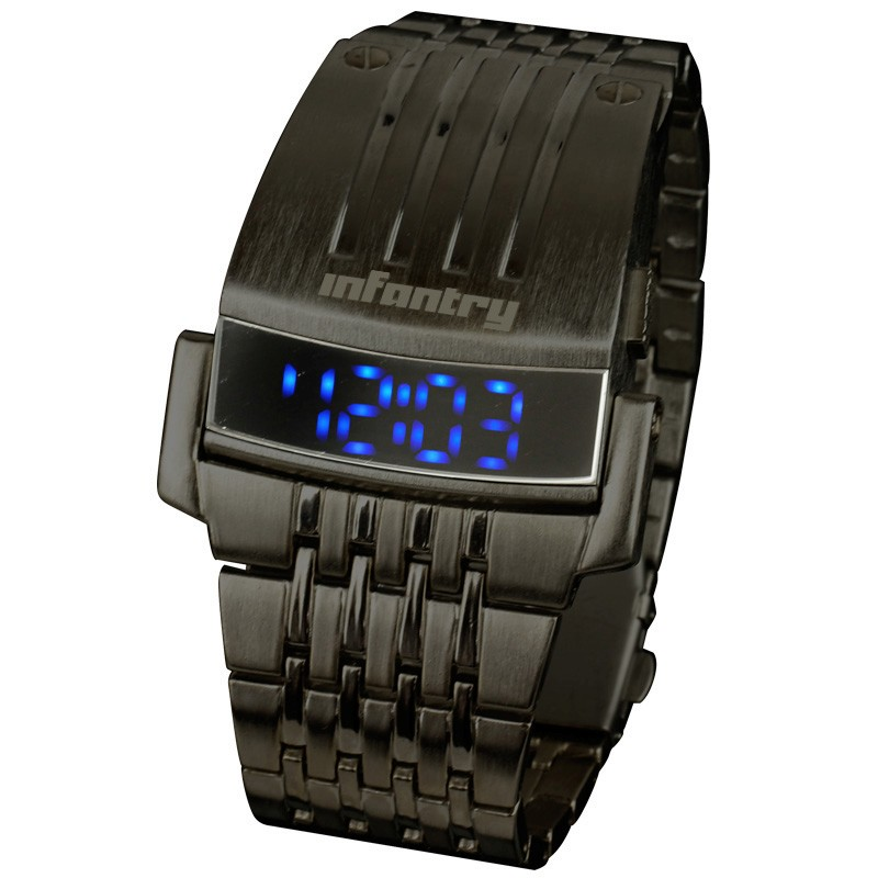 INFANTRY Digital Blue LED Light Date Sport Men Wrist Watch Black Stainless Steel