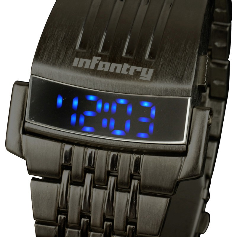 INFANTRY NEW 19.5CM DATA LED DIGITAL ARMY SPORT MENS WRIST WATCH STAINLESS STEEL