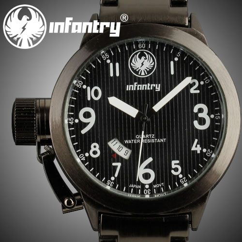 INFANTRY MILITARY SPORT DATE ANALOG ARMY MEN'S WRIST WATCH BLACK STAINLESS STEEL