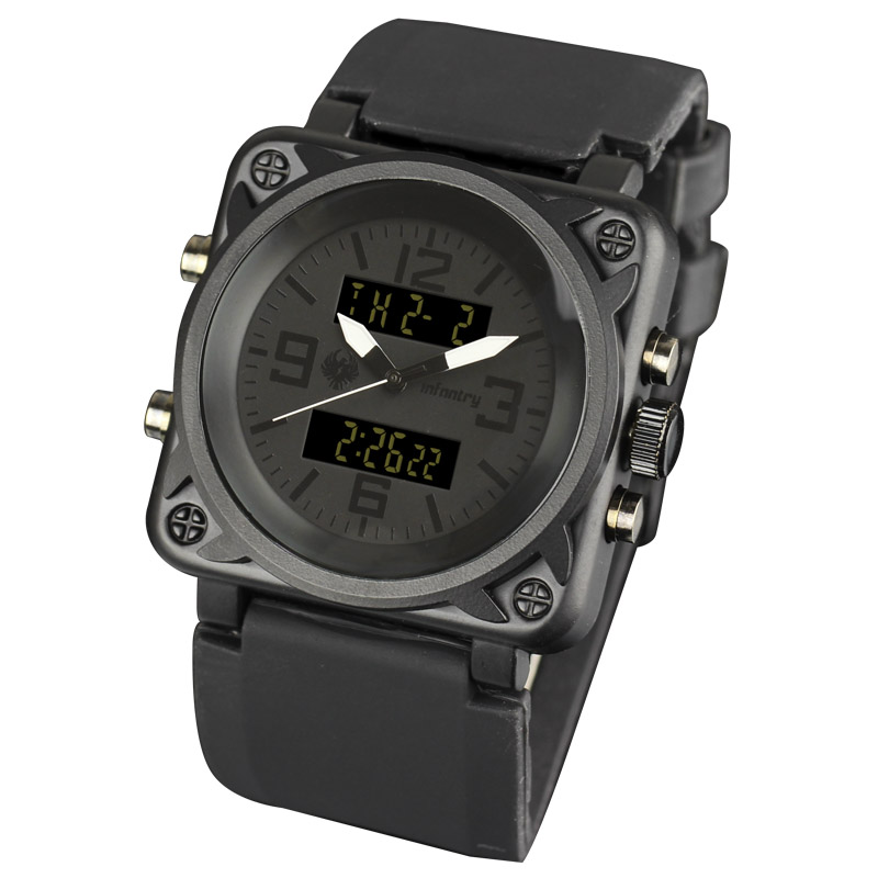 INFANTRY Analog Digital Alarm Date Day Army Black Rubber Sports Mens Wrist Watch
