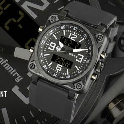 INFANTRY SQUARE FORMULA DIGITAL ANALOG MENS WRIST WATCH CHRONOGRAPH ALARM RUBBER