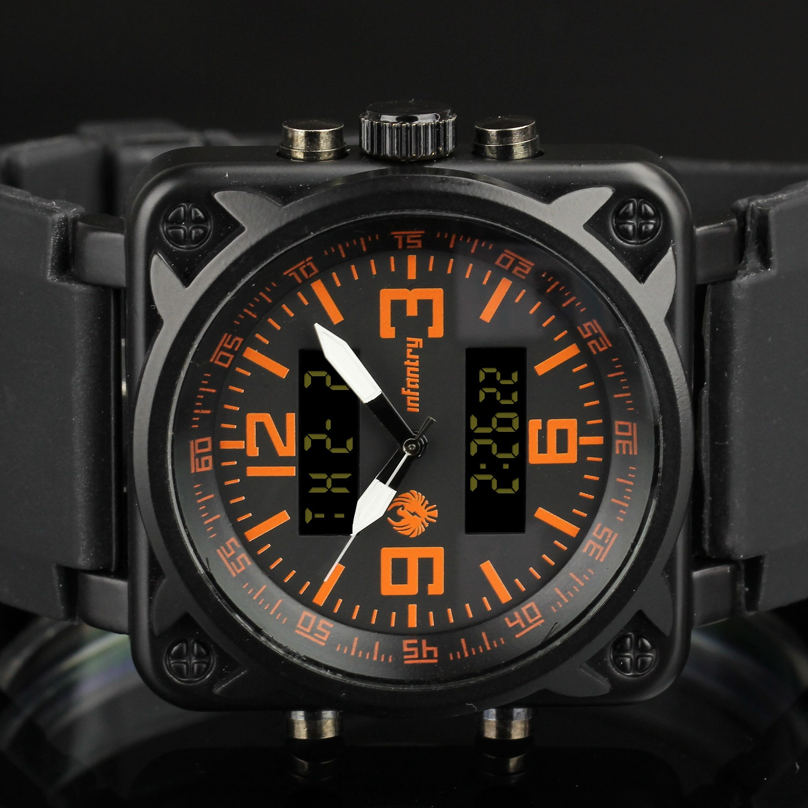 INFANTRY-Digital-Military-Sport-Alarm-Mens-Wrist-Watch-Black-Rubber-Multi-Color