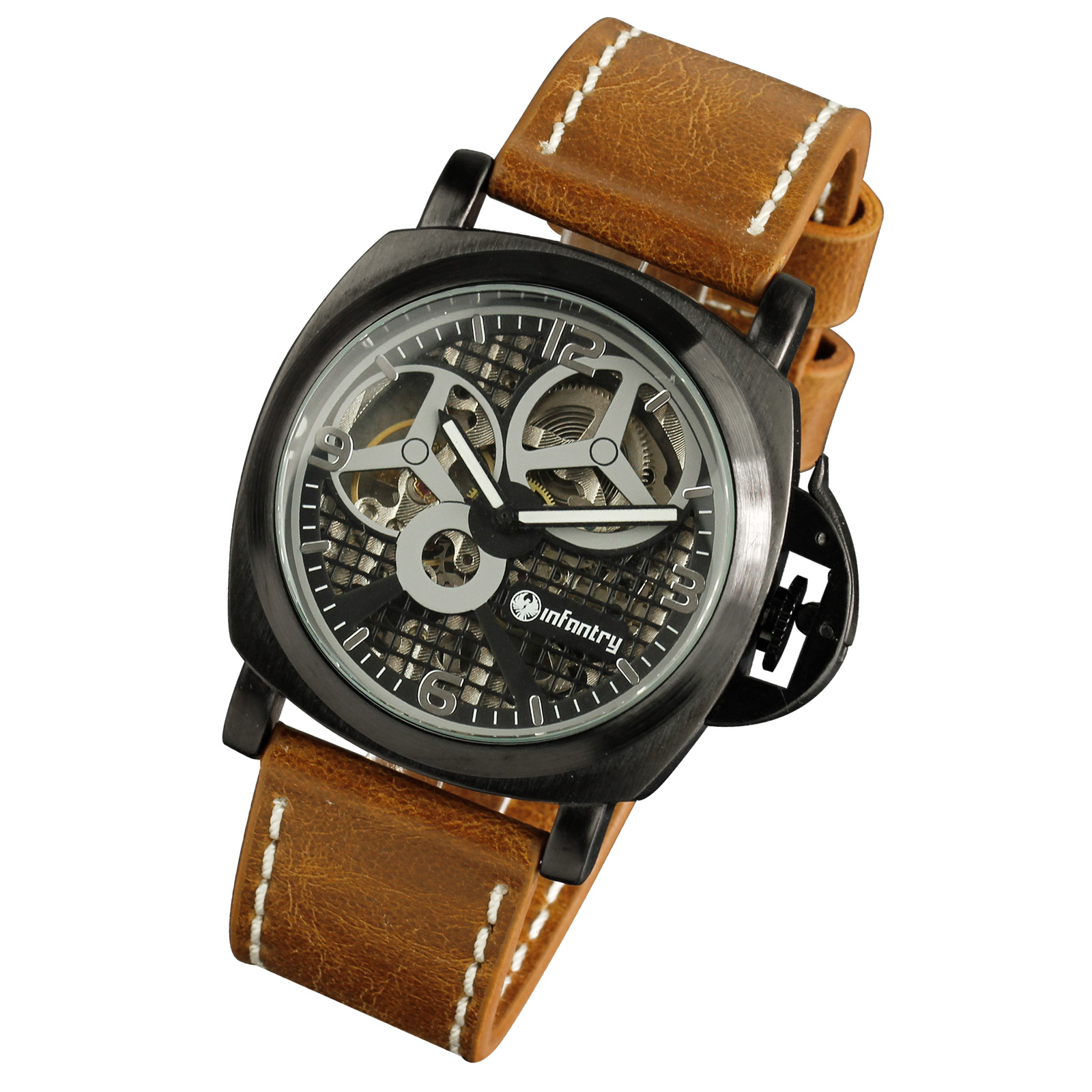 INFANTRY-ANALOG-MECHANICAL-HAND-WINDING-20-24CM-BROWN-LEATHER-MENS-WRIST-WATCH