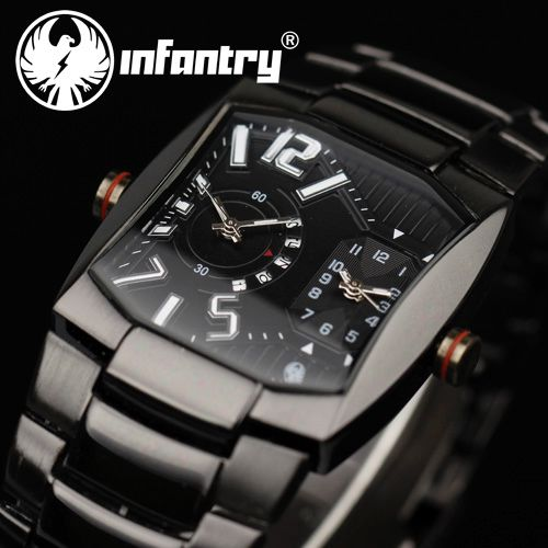 INFANTRY Date Analog Stainless Steel Mens Army Sport Quartz Wrist Watch Gift NEW