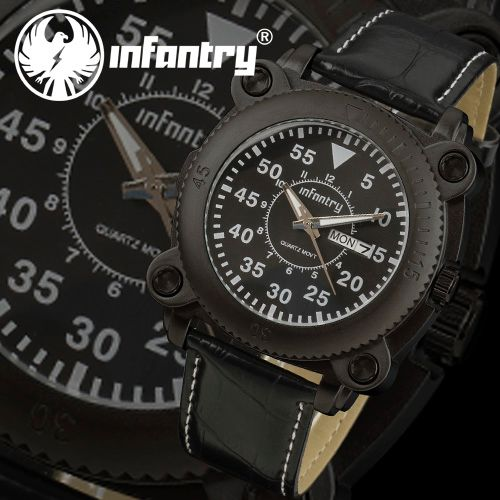 INFANTRY DAY & DATE QUARTZ SPORT ARMY MILITARY MENS WRIST WATCH BLACK LEATHER US