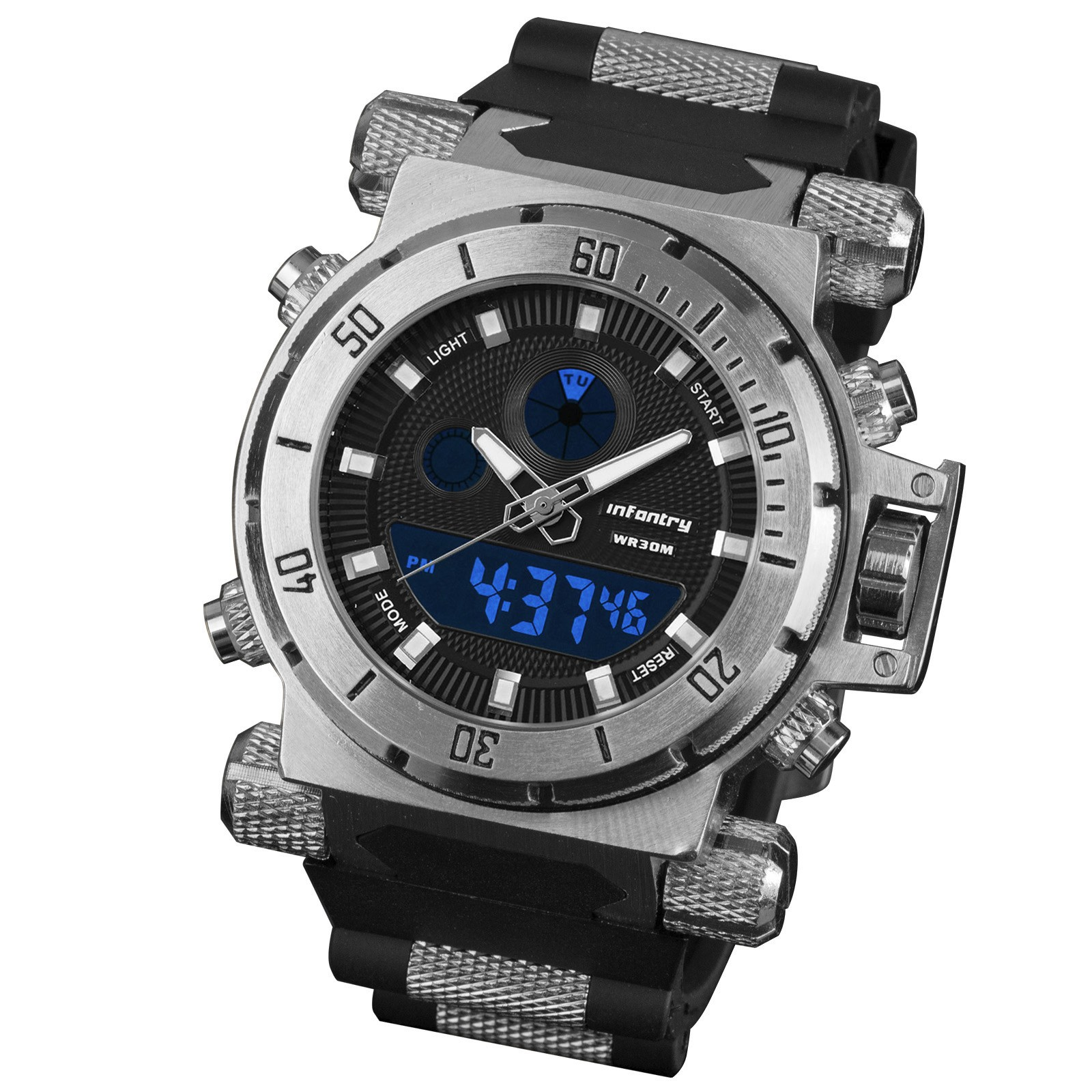 New-Infantry-Alarm-Digital-Dual-Military-Chronograph-Sport-Mens-Wristwatch-Watch