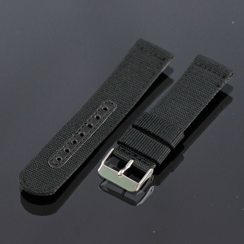 BLACK /GREEN 20 22 24MM STAINLESS STEEL BUCKLE DIVER WATCH NYLON STRAP BAND