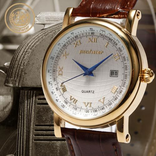 PACIFISTOR-MENS-WRIST-WATCH-DATE-ROMAN-BROWN-BLACK-LEATHER-GOLD-BLUE-SILVER-GIFT